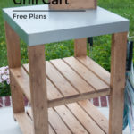 Grill or Kitchen Cart with Galvanized Top