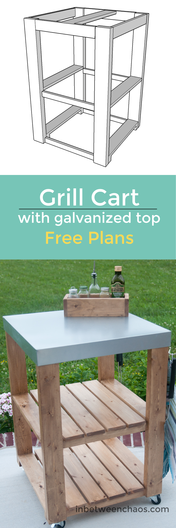 Free Woodworking Plans for a Kitchen or Grill Cart with Galvanized top | inbetweenchaos.com
