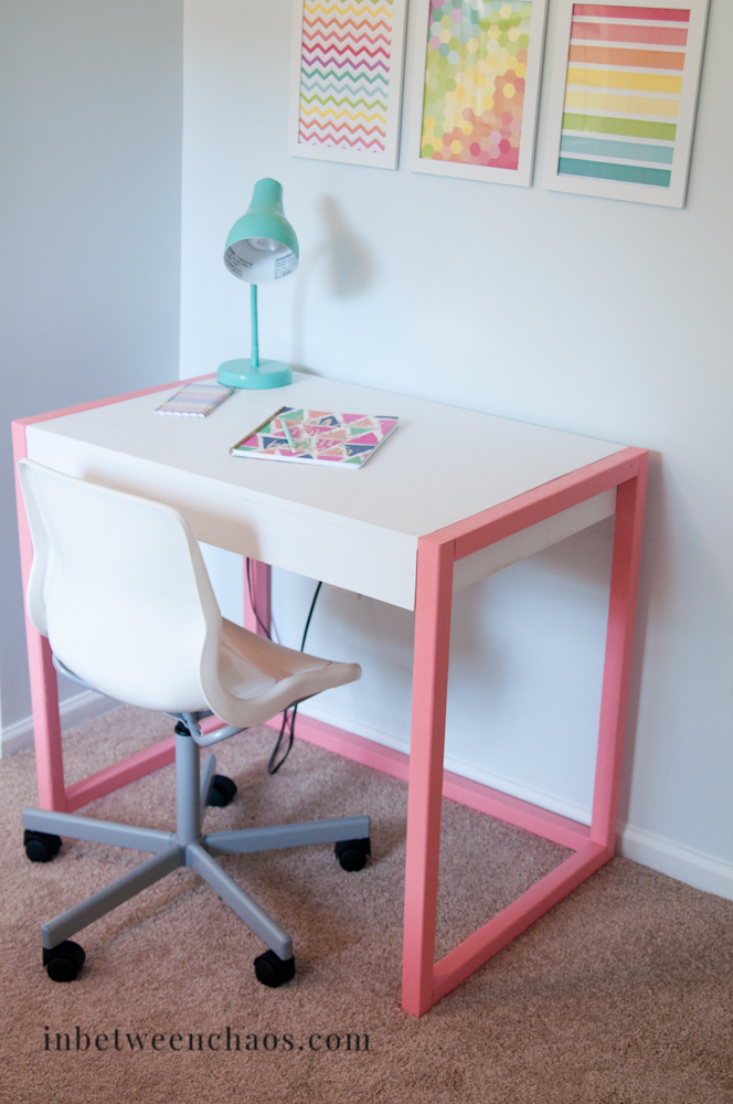 Easy free plans to build a Fun Modern Desk | inbetweenchaos.com
