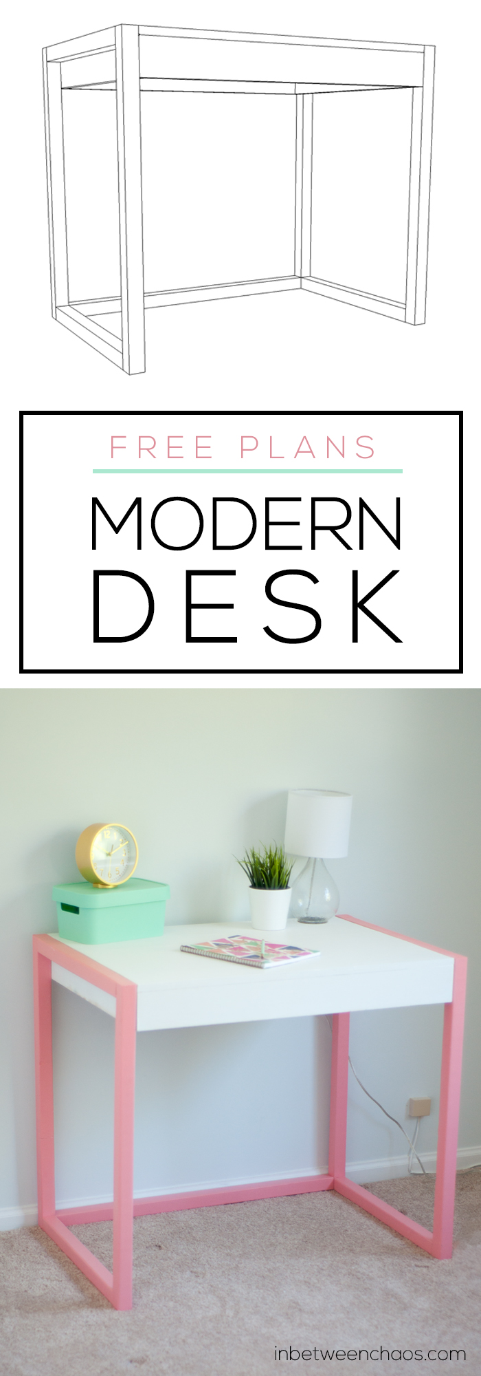Fun Modern Desk Plan | inbetweenchaos.com