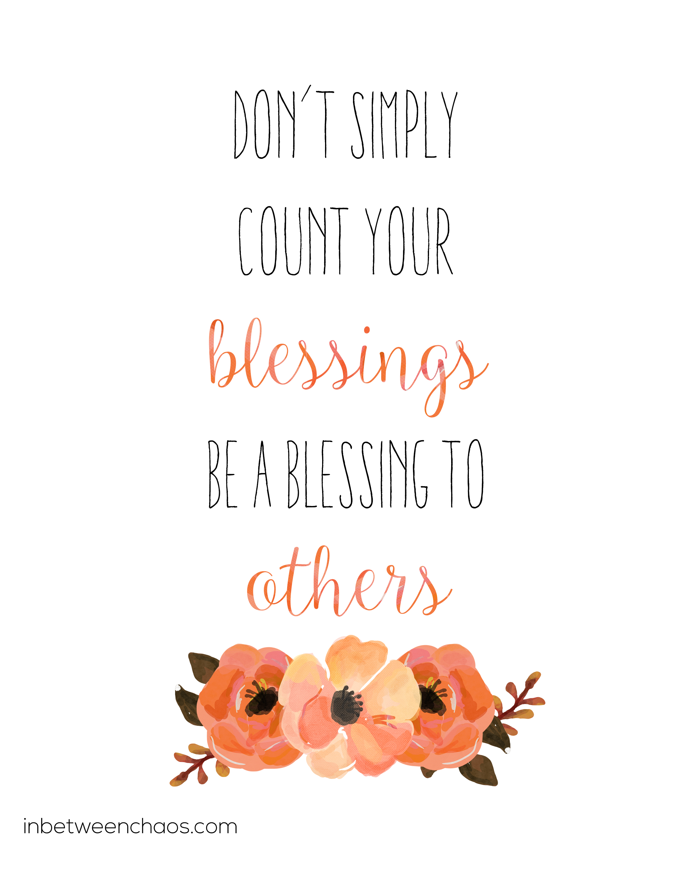 Be a Blessing Free Printable | inbetweenchaos.com