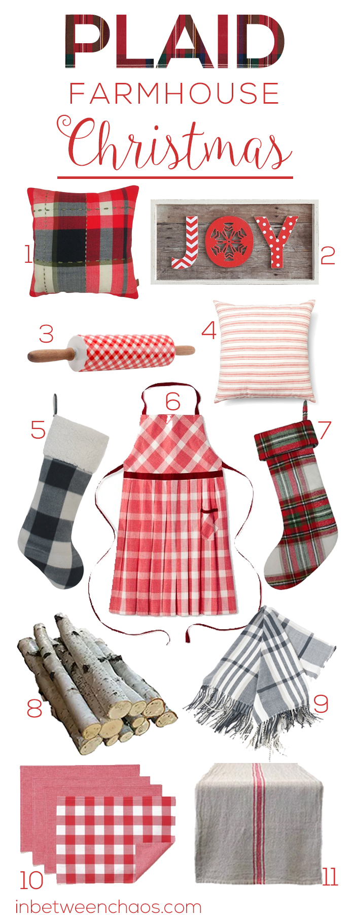 Deck the Halls in Plaid and Farmhouse Charm | inbetweenchaos.com