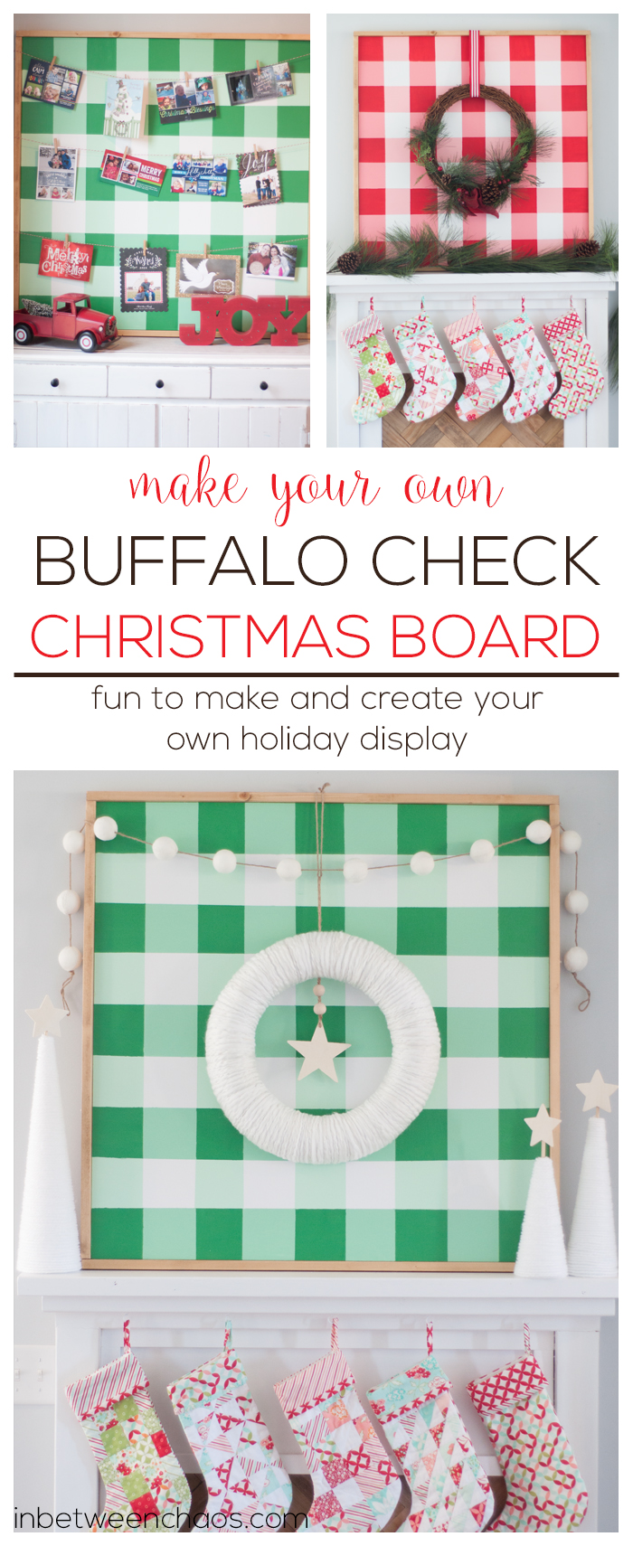 Buffalo Check Christmas Card and Wreath Display Board | inbetweenchaos.com