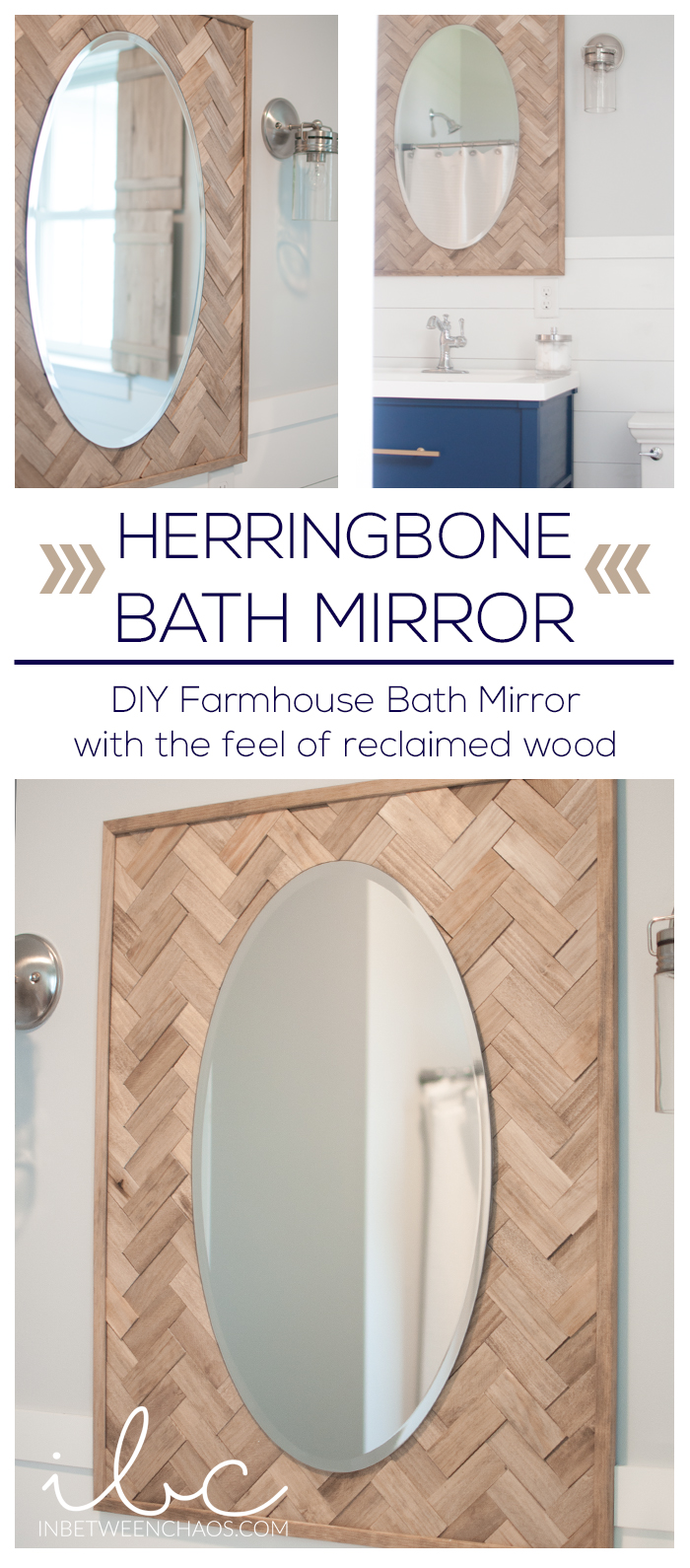 DIY Farmhouse Herringbone Mirror | inbetweenchaos.com
