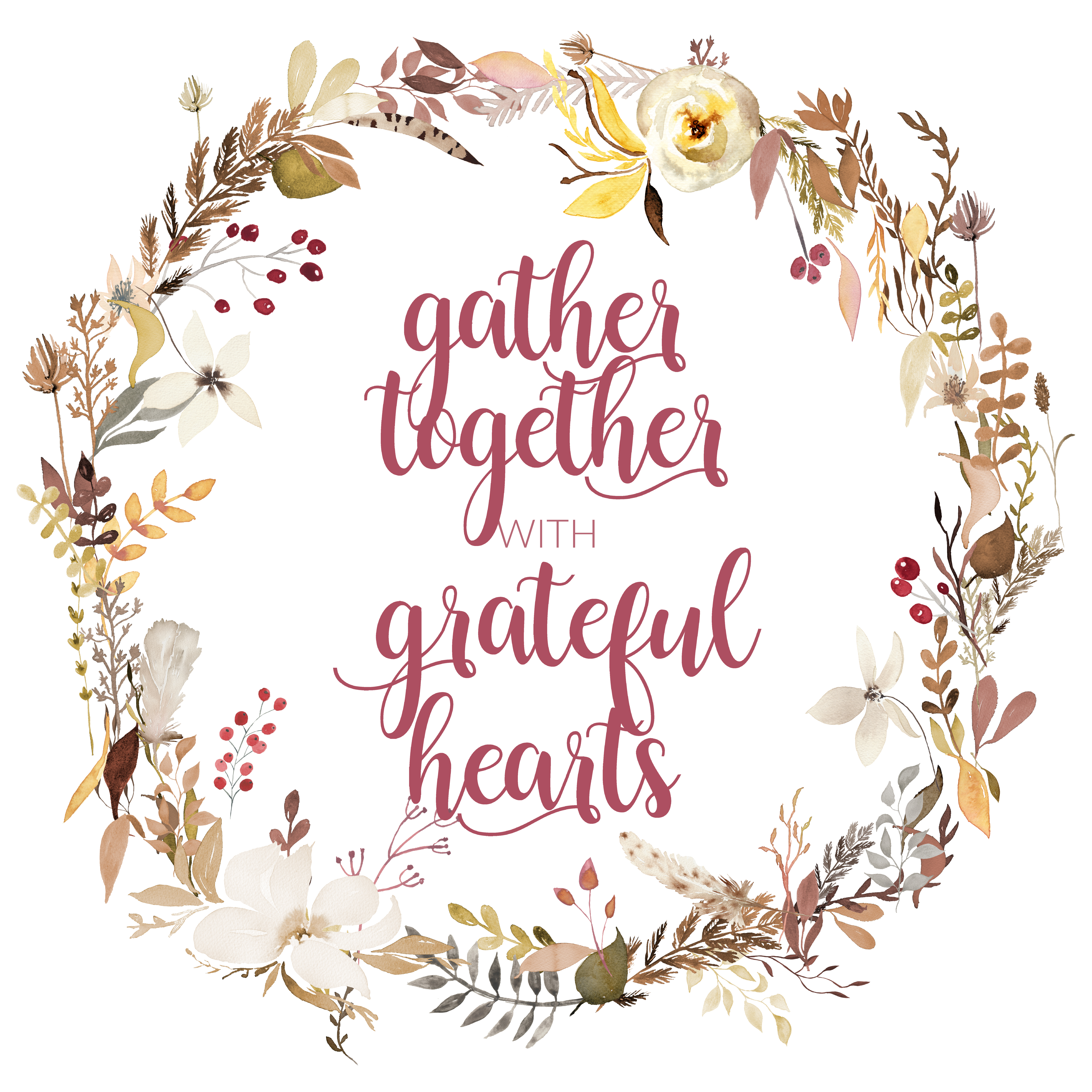 photo regarding Gather Printable named Acquire With each other with Thankful Hearts Cost-free Drop Printable